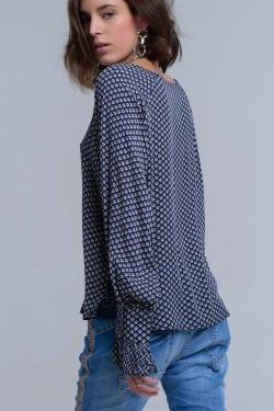 Chemise imprimée bleu marine avec poignets à volants