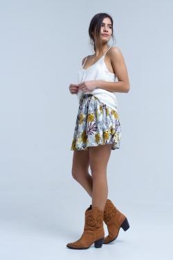 Mini-jupe jaune à imprimé floral