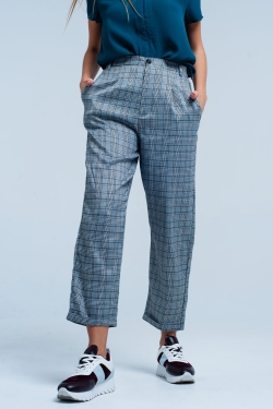 Pantalon carreaux relaxed Gris