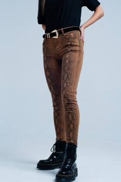 Pantalon slim orange à imprimé serpent