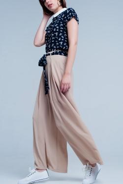Pantalon Beige large plissé avec taille nouée