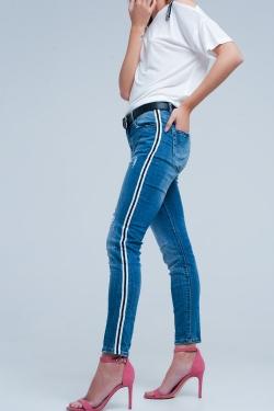 Jean skinny stretch déchiré avec rayure sur le côté