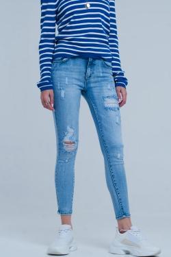 Jean skinny à grosses déchirures Délavage vintage bleu clair