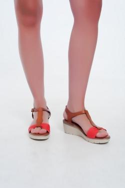 Sandales compensées Couleur rouge-camel