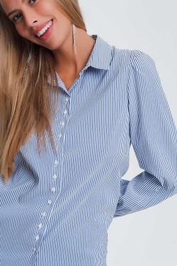 Chemise à rayures avec manches volumineuses Bleu