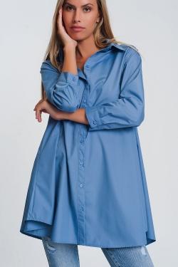 Chemise oversize popeline avec collier azul