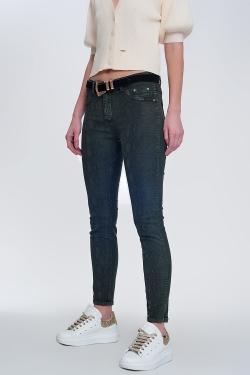 Pantalon réversible super skinny kaki avec imprimé serpent