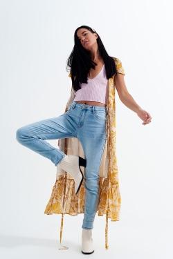 Jean skinny taille haute effet vintage Délavage clair