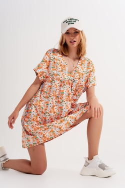 Robe babydoll courte en coton orange fleuri
