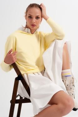 Pull à capuche à manches longues jaune